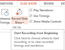 How to start recording in power point