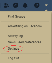where is Settings option in facebook
