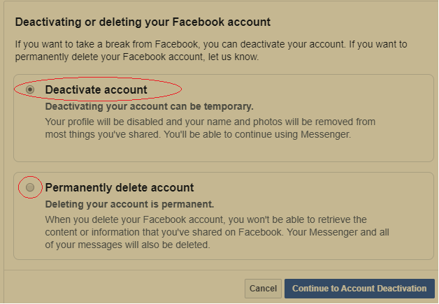 Deactivating or deleting your facebook account