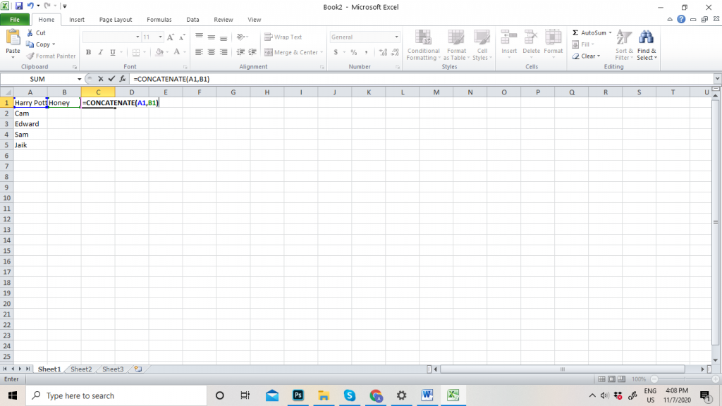 How to Merge Cell in Excel with Data