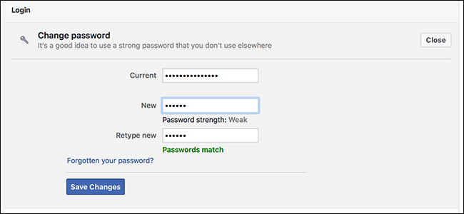Change old Password on Facebook